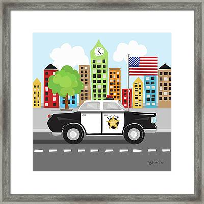 Police Car Framed Print by Kathy Middlebrook