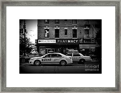 N Y P D Noir - Police Car Framed Print