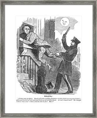 Police Cartoon, 1860 Framed Print by Granger