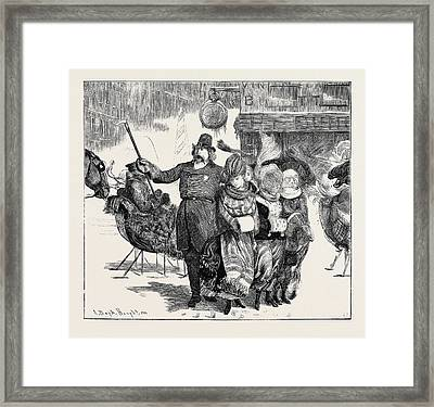 Police Convoy In Boston Framed Print by English School