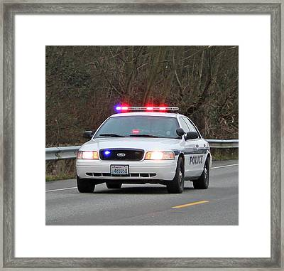 Police Escort Framed Print by E Faithe Lester