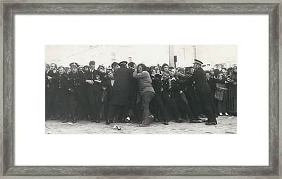Police Hold Back Screaming Fans Trying To Get Tickets Framed Print by Retro Images Archive