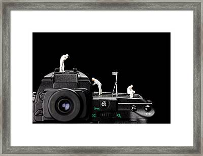 Police Investigate On A Camera Framed Print by Paul Ge