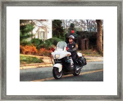 Police - Motorcycle Cop On Patrol Framed Print by Susan Savad