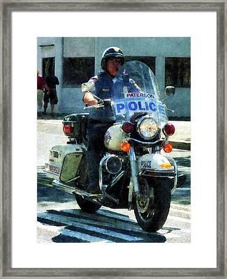 Police - Motorcycle Cop Framed Print by Susan Savad