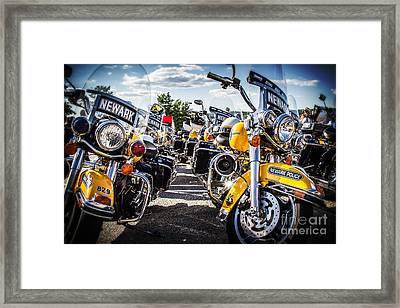Framed Print featuring the photograph Police Motorcycle Lineup by Eleanor Abramson