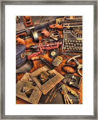 Police Officer - The Detective's Desk  Framed Print