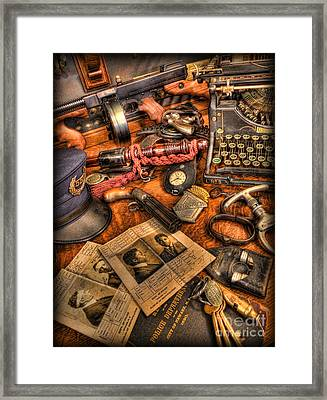 Police Officer- The Detective's Desk II Framed Print