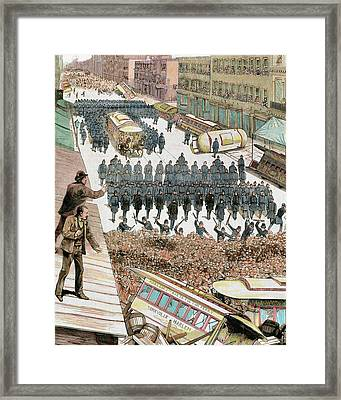 Police Officers Dispersing The Strike Framed Print