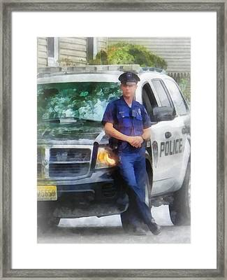 Police - Policeman By Patrol Car Framed Print