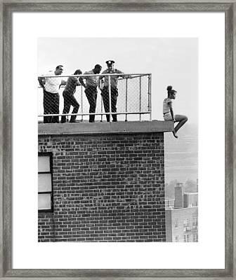 Police Thwart Jumper Framed Print by Underwood Archives