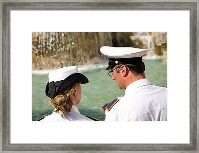 Police Watch At The Fontana Framed Print