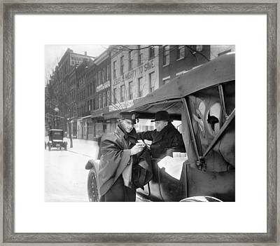 Policeman And Coffee, C1920 Framed Print by Granger