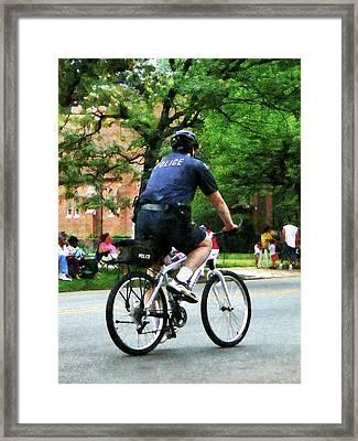 Policeman - Police Bicycle Patrol Framed Print by Susan Savad