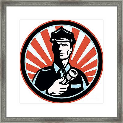 Policeman Security Guard With Flashlight Retro Framed Print by Aloysius Patrimonio