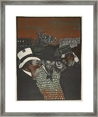 Policeman Talking With Men Framed Print