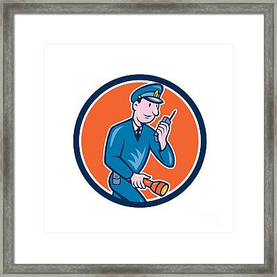 Policeman Torch Radio Circle Cartoon Framed Print by Aloysius Patrimonio