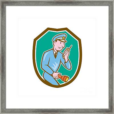 Policeman Torch Radio Shield Cartoon Framed Print by Aloysius Patrimonio