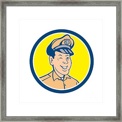Policeman Winking Smiling Circle Cartoon Framed Print