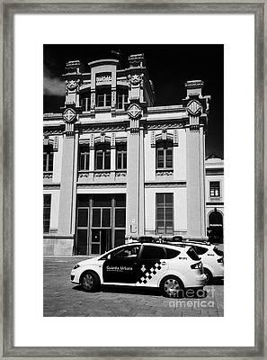 policia guardia urbana patrol cars outside estacio del nord station Barcelona Catalonia Spain Framed Print by Joe Fox