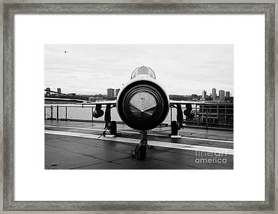 Polish Air Force Mig 21 Pfm On Display On The Flight Deck At The Intrepid Sea Air Space Museum Framed Print