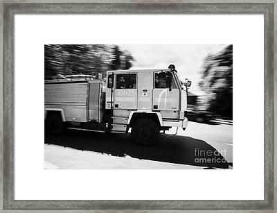 Polish Fire Brigade Fire Guard Straz Krakow Speeding Past On Way To Fire Framed Print by Joe Fox