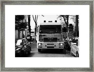 Polish Fire Brigade Fire Guard Straz Krakow Vehicle Parked In Middle Of City Street Firefighter Attending Emergency Call Out Framed Print by Joe Fox