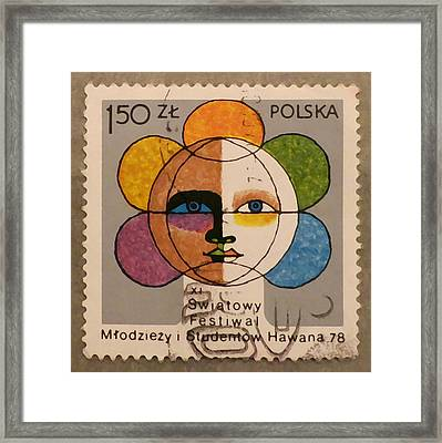 Polish Stamp - World Festival Of Youth And Students In Havana 1978 Framed Print by Patricia Januszkiewicz
