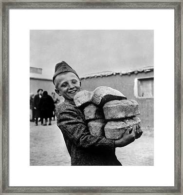 Polish Youngster With Bread Made Framed Print by Everett