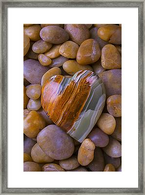 Polished Heart Stone Framed Print by Garry Gay
