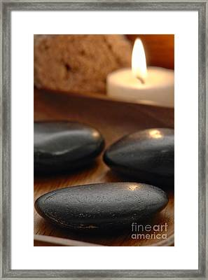 Polished Stones In A Spa Framed Print