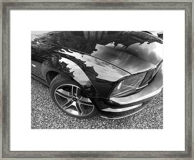 Polished To Perfection - Mustang Gt In Black And White Framed Print by Gill Billington