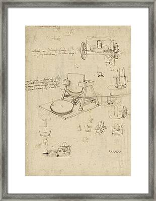 Polishing Machine Formed By Two Wheeled Carriage From Atlantic Codex Framed Print by Leonardo Da Vinci