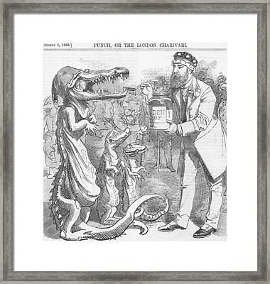 Political Crocodile Framed Print by Konni Jensen