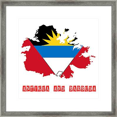Political Map Of Antigua And Barbuda Framed Print by Celestial Images