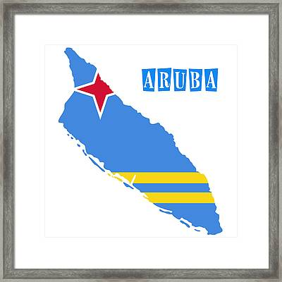 Political Map Of Aruba Framed Print by Celestial Images