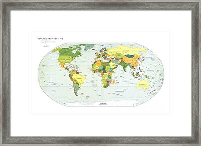 Political Map Of The World, 2012 Framed Print by Library Of Congress