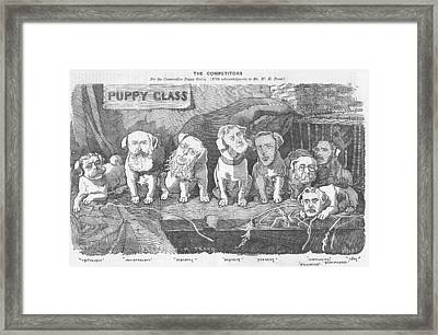 Political Puppy Class Framed Print by Konni Jensen