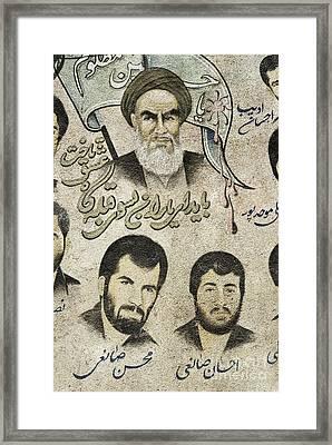 Political Religious Mural Teheran Iran With Ayatollah Khomeini Framed Print by Jacek Malipan