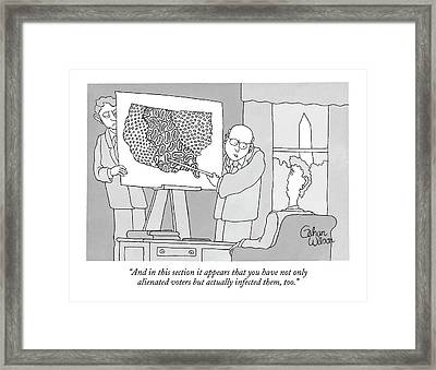 Politicos Pointing To A Map With Paisley Framed Print