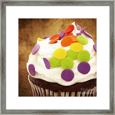 Polka Dot Cupcake 2 Square Framed Print by Andee Design