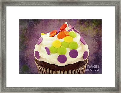 Polka Dot Cupcake 4 Texture Framed Print
