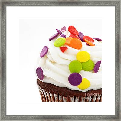 Polka Dot Cupcake Framed Print by Andee Design