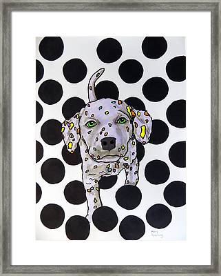 Polka Dot Dalmation Puppy Framed Print by Mary Sperling