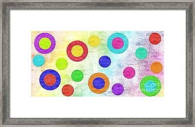 Polka Dot Panorama - Rainbow - Circles - Shapes Framed Print