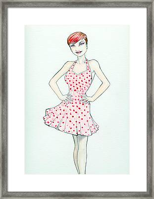 Polka Dot Pink Framed Print