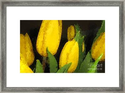 Polka Dot Yellow Tulips Framed Print by Barbara Griffin