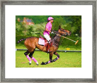 Polo In Pink Framed Print by Garland Johnson
