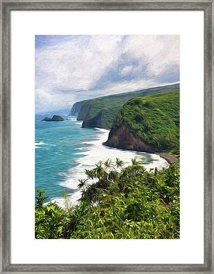 Pololu Valley Beach Framed Print