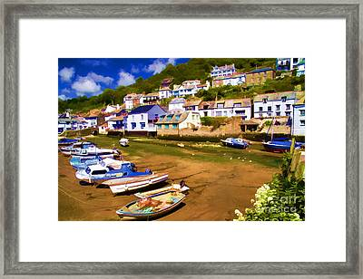 Polperro At Low Tide Framed Print by David Smith